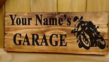 PERSONALISED NAME MAN CAVE BIKE Shed Garage Workshop Door Sign Plaque Wood Fun