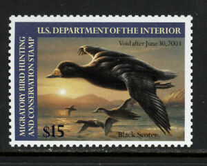 SCOTT RW69 2002 $15 BLACK SCOTER DUCK STAMP ISSUE MNH OG VF CAT $30!