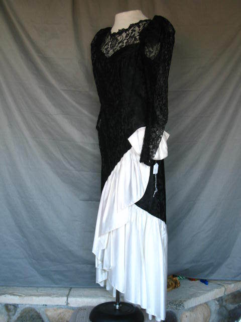 1920s Great Gatsby Style Dress Black & White Prom Gown Formal Evening