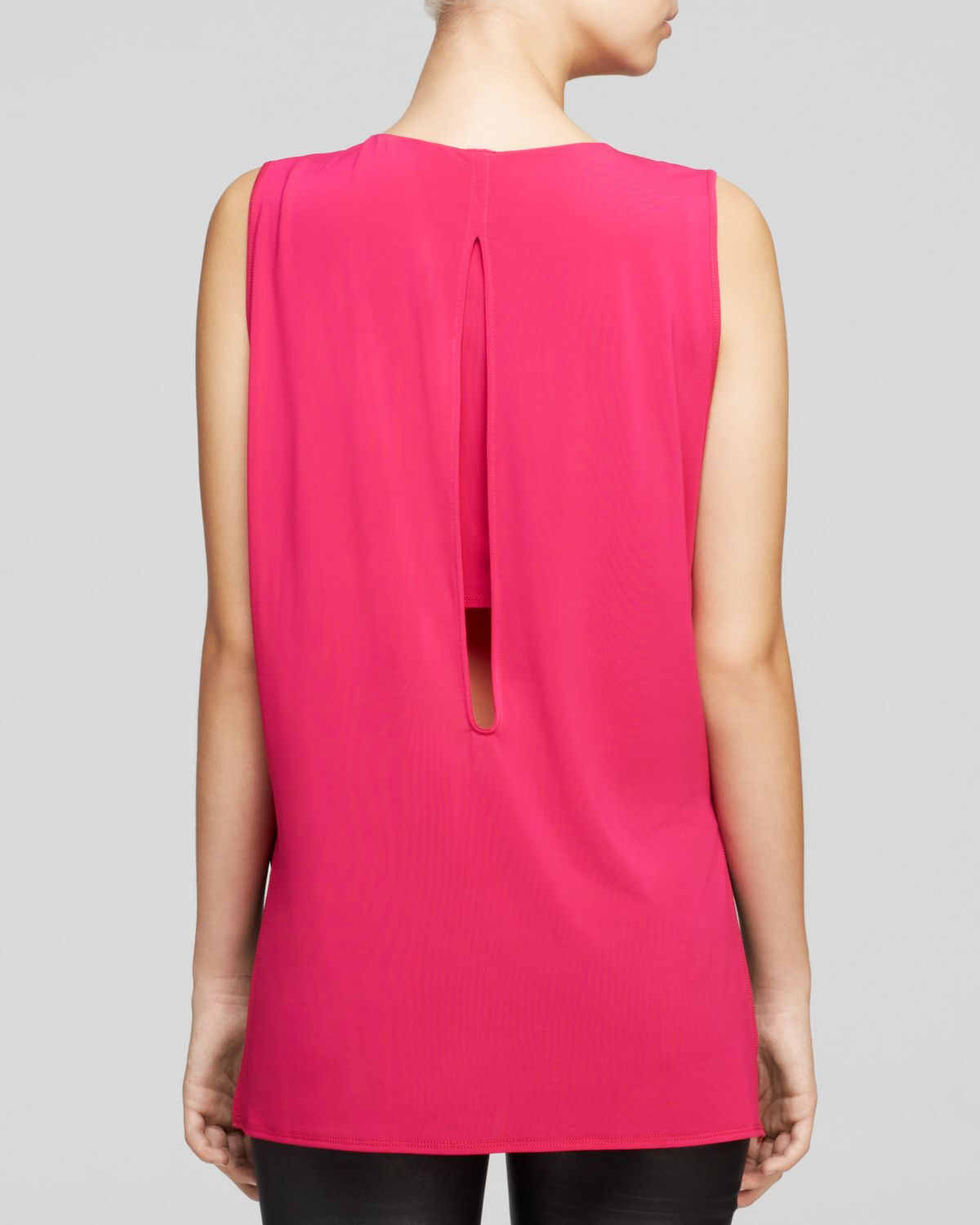 Helmut Lang Faint Jersey Sleeveless Top in Fuchsia Pink Size Large L