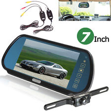 "7"" LCD Car Rear View Backup Mirror Monitor+Wireless Reverse IR Camera System NEW"