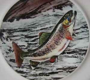 Ll bean delano wildlife collectible plate golden trout for Ll bean fishing