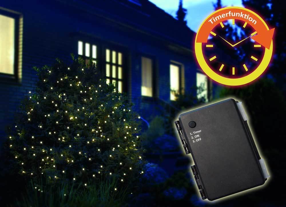 LED Batterie Lichternetz 1,5x1,5m 100 100 100 LEDs warmweiß 6 18h Timer Außen Kabel grün | Eleganter Stil  62afa7