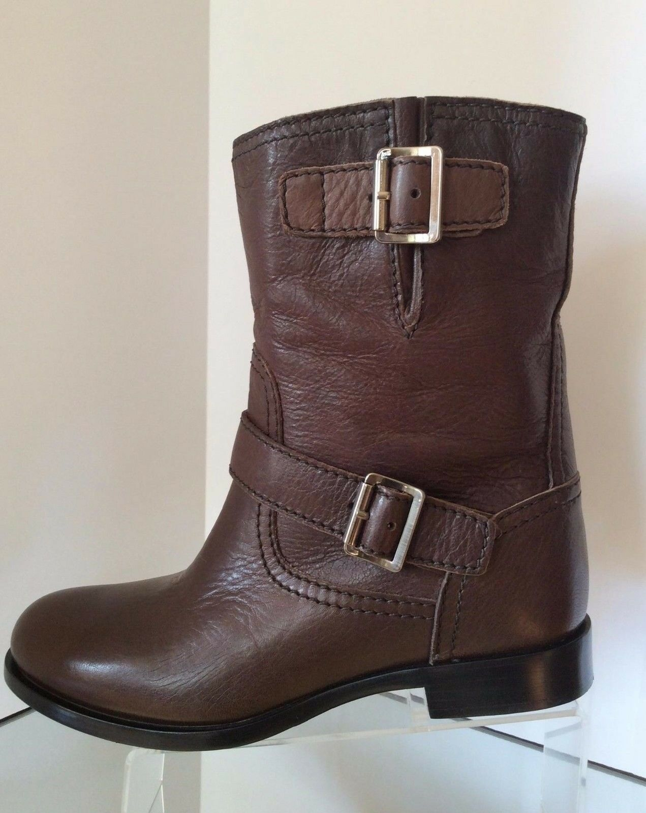 NEW PRADA Double Buckle Moto Boots, Brown (Size 38) - MSRP  995.00