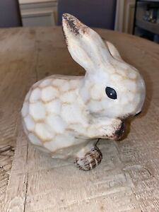 Farmhouse-Rustic-Ceramic-Easter-Bunny-6-figurine-vintage-Style-New