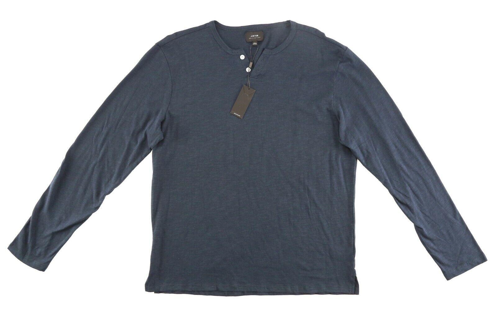 Joe's Mens Navy Wintz Long Sleeve Slub Henley Sz L 1004