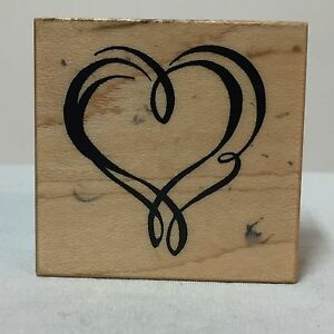 1997-PSX-Wood-Mounted-Rubber-Stamp-C-2237-Double-Heart-Outline-Valentines-Love