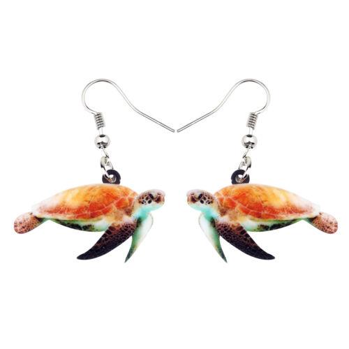 Acrylique Floral Ocean tortue boucles d/'oreilles Goutte Sea Animal Bijoux Pour Femmes Enfants Cadeau