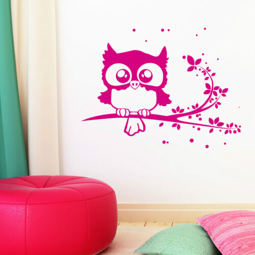 10429 Wandtattoo-Loft® Wandtattoo Eule Owl Uhu Eulchen Ast Zweig