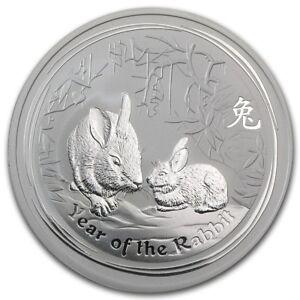 Perth Mint Australia $ 0.5 Lunar Series II Rabbit 2011 1//2 oz .999 Silver Coin