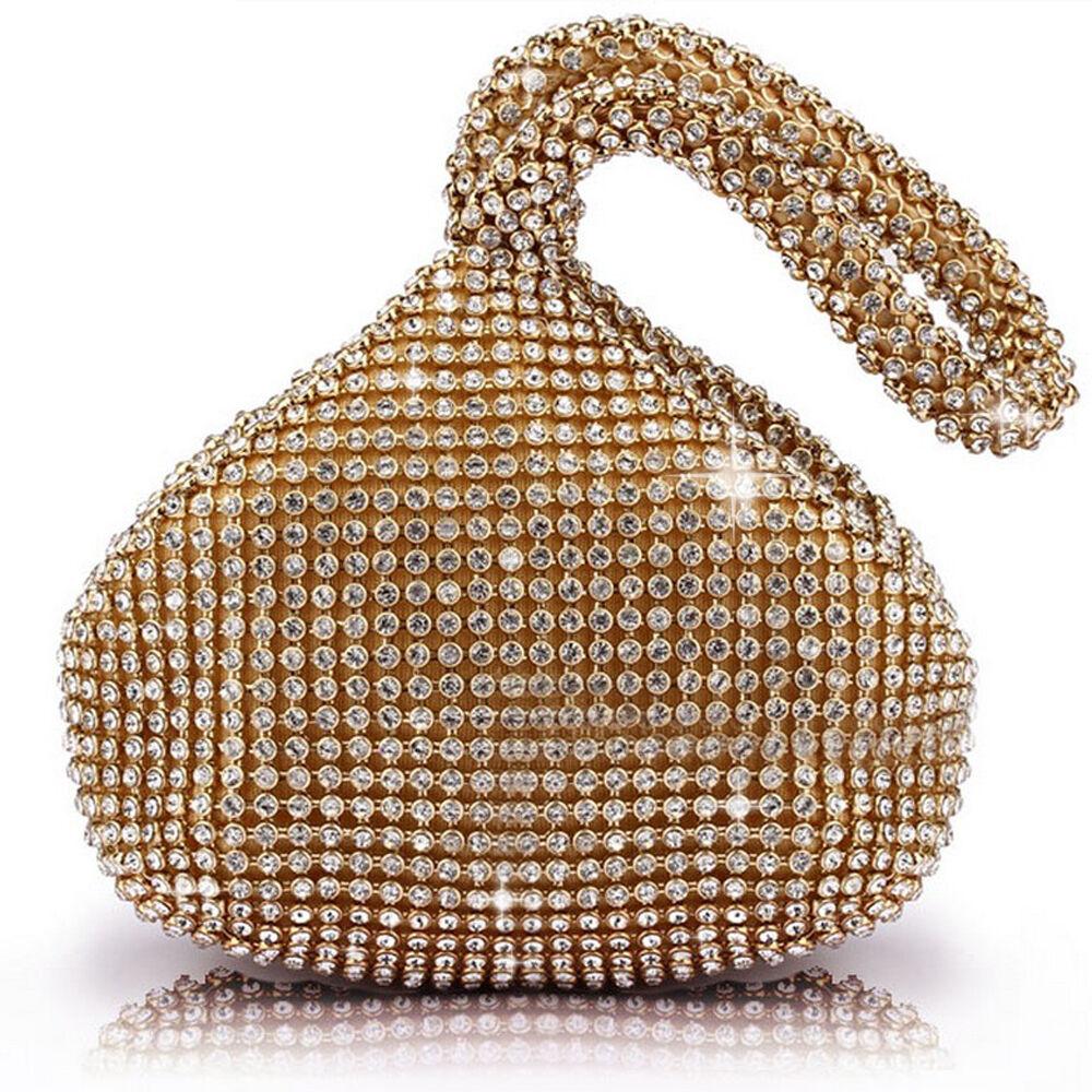 Gold Rhinestones Crystal Evening Clutch Bag Party Prom Weddi