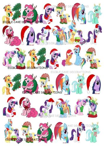34 My Little Pony Christmas STAND UP Cupcake Fairy Cake Topper Edible Decoration