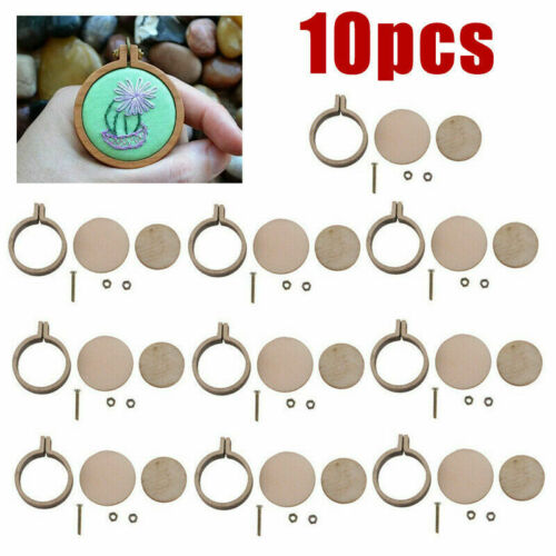 10 set Mini Embroidery Hoop Ring Wooden Cross Stitch Frame Hand Crafts DIY Tools