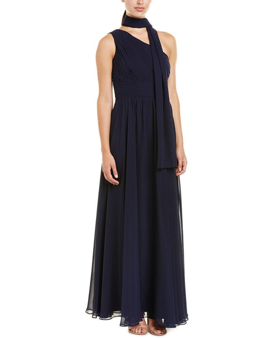 ELIZA J Navy One Shoulder Maxi Goddess Gown Size 10 SAKS FIFTH AVE  198