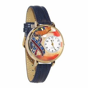 Whimsical-Watches-Women-039-s-American-Patriotic-Blue-Leather-Watch-in-Gold-Large