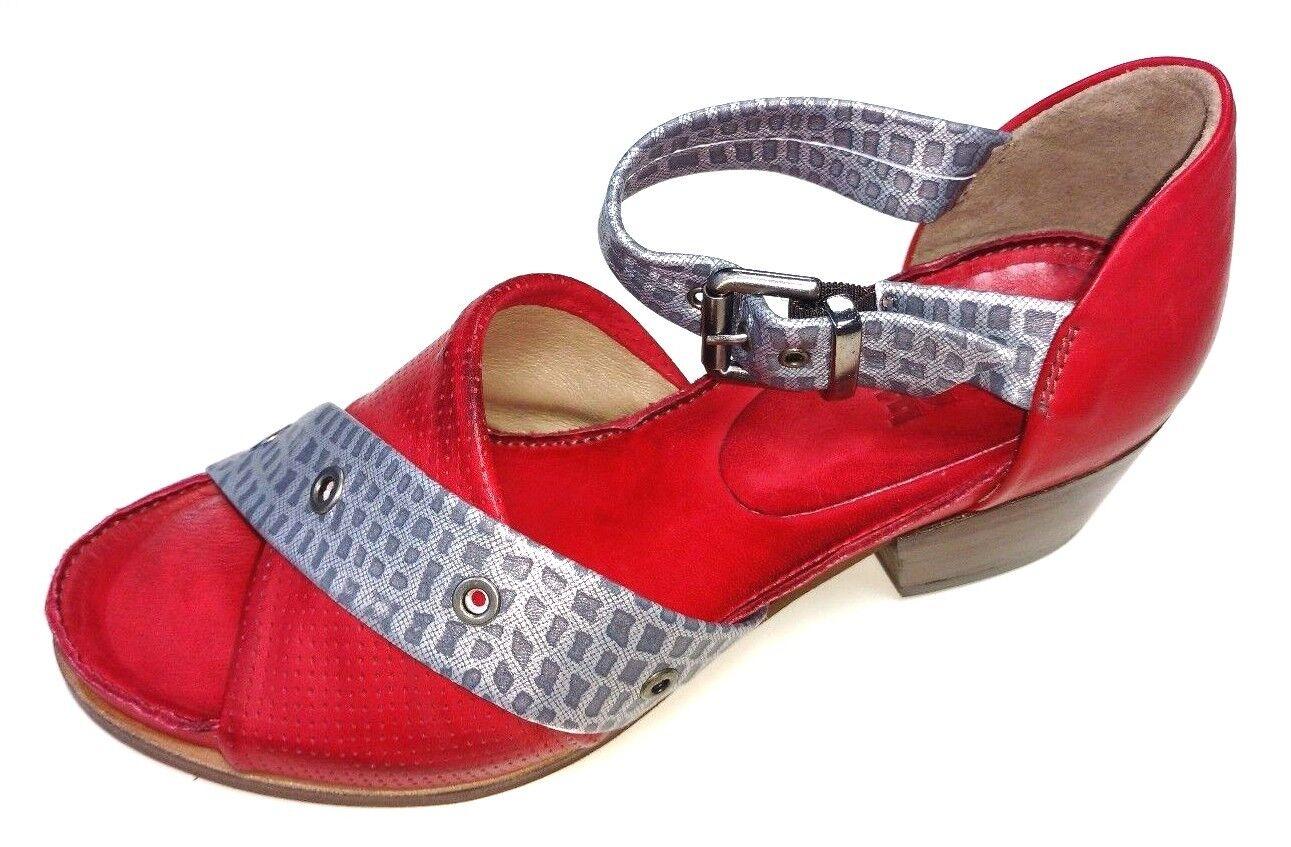DKODE Damen Absatz Schuhe 013 Sandale Sandalette Rexy ROT Silver 013 Schuhe Leder 90db13