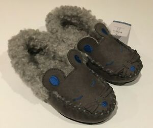 M\u0026S Boys Suede Grey Mouse Slippers