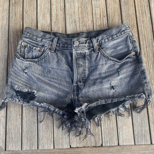 Vintage 90's Levi's 501 Distressed Denim Shorts S… - image 1
