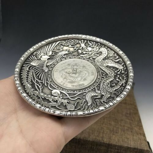 Chinese hand-carved dragon pattern Tibet silver Copper The plate TE