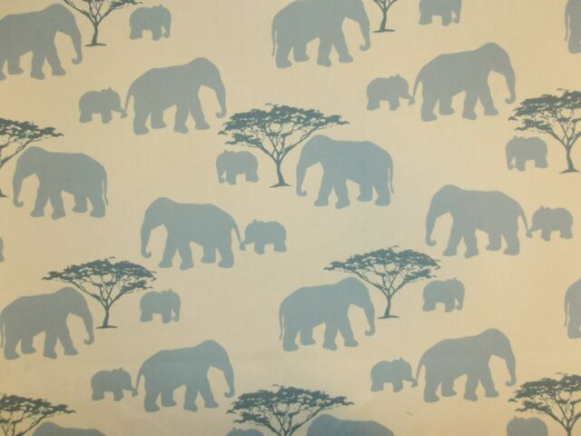 MARSONS ELEPHANTS BLUE CREAM PRINT COTTON CURTAIN FURNISHING FABRIC ELEPHANT