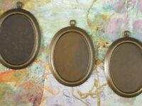 3 Vintaj Oval Bezel Altered Blanks Natural Brass 25mm X 18mm Cup Setting V114