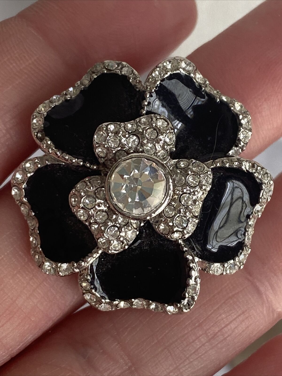 Rhinestones Corsage Stretch Bracelet Lia Sophia Black Dahlia Bracelet Black