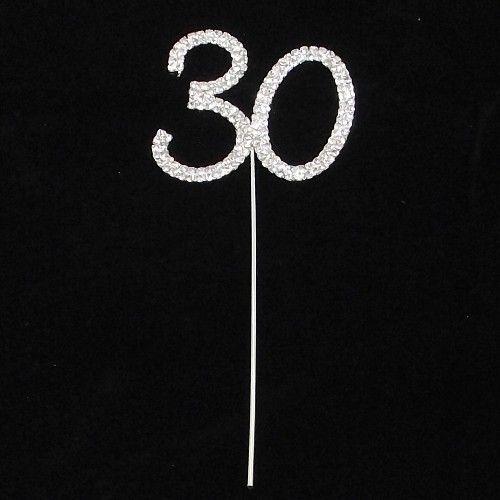 30th 30 DIAMANTE RHINESTONE CRYSTAL NUMBER CAKE PICKS Birthdays or Anniversaries