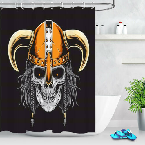 Bathroom Home Decor Pirate Skull Shower Curtain Waterproof Fabric 12 Hooks /& Mat