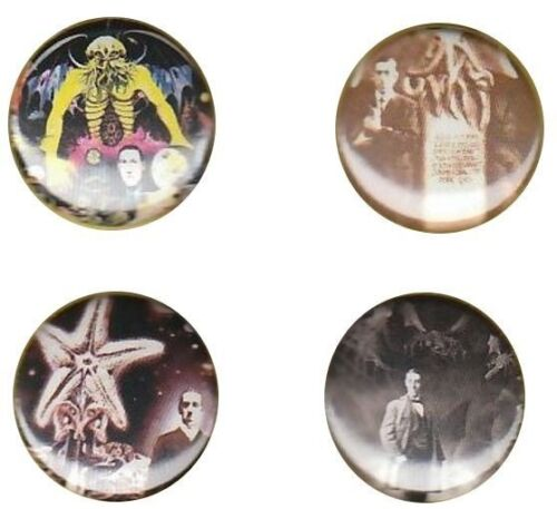 H.P Lovecraft Set of 4 Buttons-Pins-Badges|Weird Horror|cthulhu|necronomicon|hp