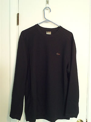 Thermal-look-shirt-size-xl-black-long-sleeves-solid-polyester-casual-greg-norman Activewear Tops