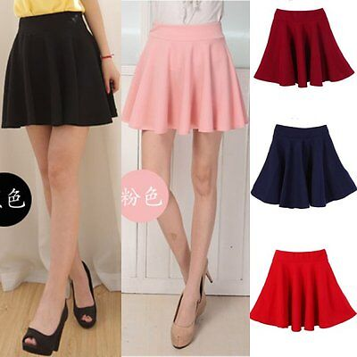 Girls Women High Waist Skater Mini Skirt Plain Flared Pleated A-Line Short Sexy