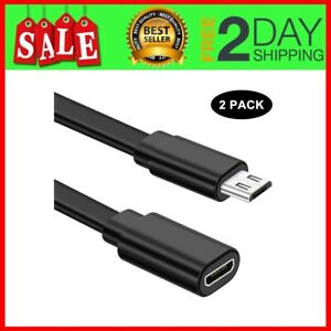2 Pack Micro USB Extension Cable 10ft Male to Female Extender Cord Zmodo Camera