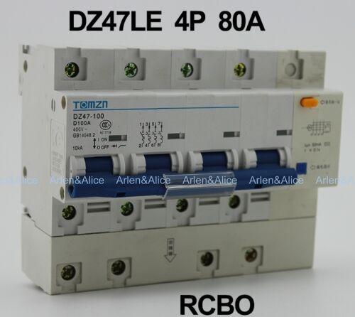 DZ47LE 4P 80A D type 400V~ 50HZ//60HZ Residual current Circuit breaker  RCBO