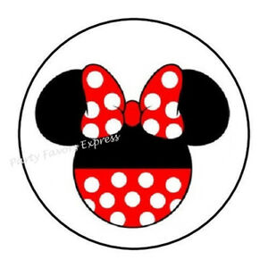 "48 MINNIE MOUSE ENVELOPE SEALS LABELS STICKERS 1.2/"" ROUND"
