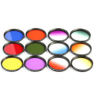 12pcs 52mm Graduated Full Color ND Lens Filter Kit For Nikon D3100 D3200 D5100