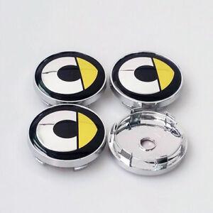 4x-60mm-SMART-Silber-Gelb-Nabendeckel-Felgendeckel-Nabenkappen