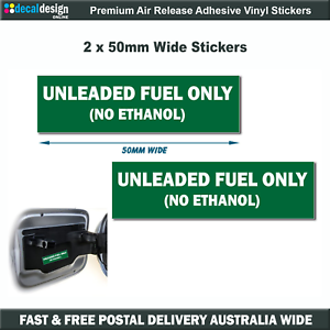 Unleaded-Fuel-Only-No-Ethanol-Filler-Cap-Decals-x2-stickers-car-boat-hire-U001