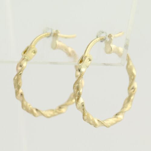 10k or Jaune gravé Texturé percé Nouveau Twisted Boucles d/'oreilles créoles