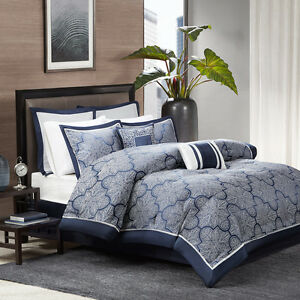 Deluxe New Navy Blue Silver Jacquard Cal King Queen