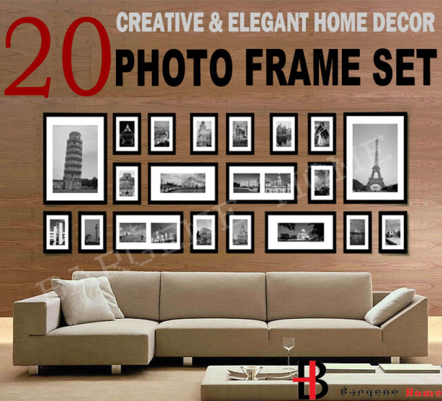 20 pcs Picture Photo Frame Set Wall Black 220 x 80cm Home Decor Art Colour Gift