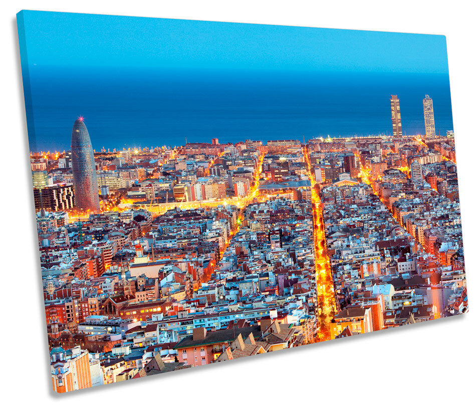 Barcelona Spain Skyline CANVAS WALL ART Picture Print Single