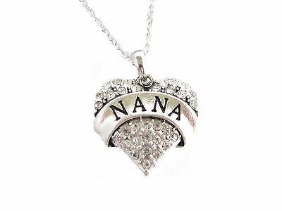 Nana Grandma Grandmother Silver Chain Necklace Clear Rhinestone  Heart Jewelry