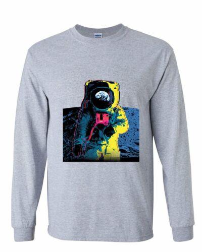 Neon Astronaut Long Sleeve T-Shirt Moon Landing Space Travel Universe Earth Tee