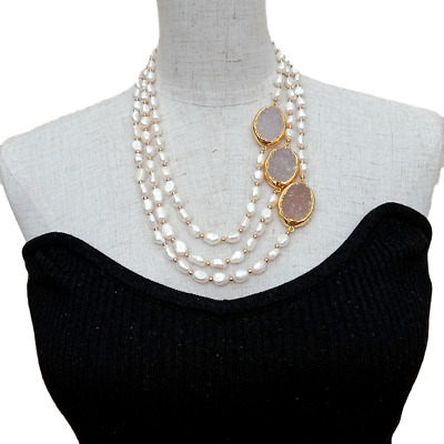 White Freshwater Cultured Baroque Drusy Pearls Full Strand