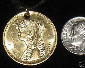 1 INCH EGYPT EGYPTIAN QUEEN NILE CLEOPATRA GOLD TONE CHARM COIN PENDANT NECKLACE
