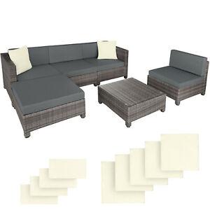 Poly Rattan Aluminium Sofa Sitzgruppe Lounge Set Garnitur 2 Bezüge Grau B-Ware