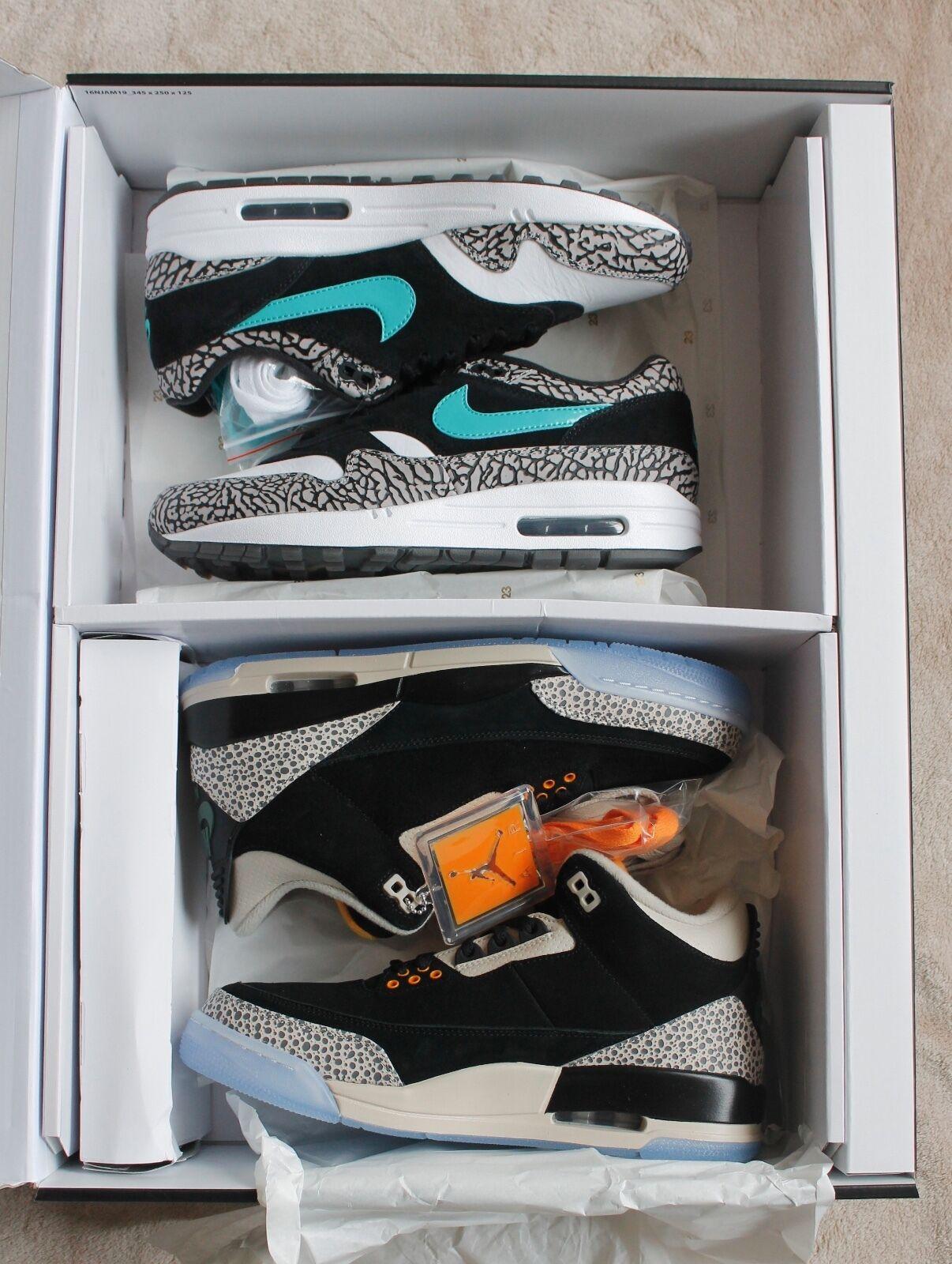 Nike Air Max 1 Retro Atmos Elephant / Jordan 3 Safari Pack 923098-900 New