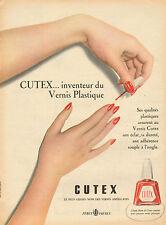 Publicité Advertising 1956  CUTEX vernis plastique ... pour de beaux ongles !!