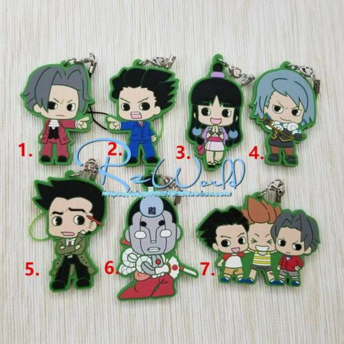 Ace Attorney Keychain Keyring Anime Figure Rubber Strap Phone Charm Bag Pendant