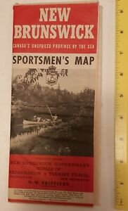 VERY-RARE-VINTAGE-CANADIAN-034-1948-NEW-BRUNSWICK-SPORTSMAN-039-S-amp-ROAD-MAP-034